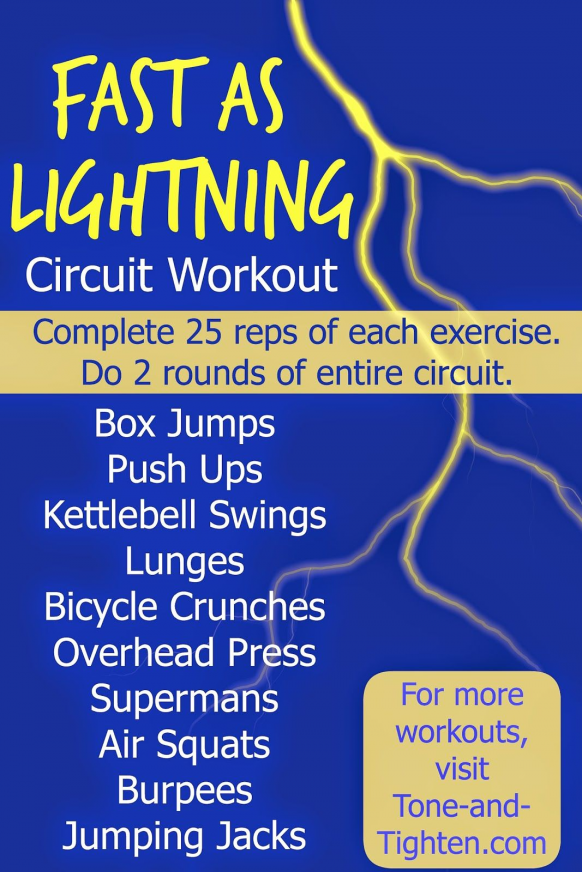 Fast as Lightning Total Body Circuit Workout from Tone-and-Tighten.com #fitness #workout #crossfit #...
