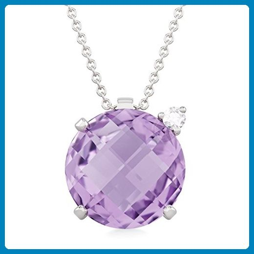 CECILIA diamond and amethyst pendant in 18kt white gold and palladium - Wedding nacklaces (*Amazon Partner-Link)