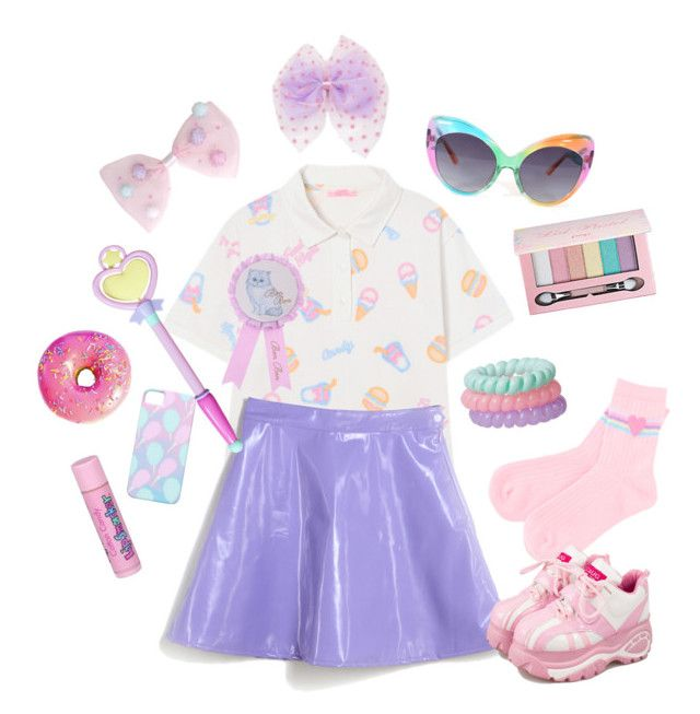 """""""Party kei~☆"""" by sweetpasteldream ❤ liked on Polyvore featuring UNIF, Pop Beauty and Cotton Candy"""