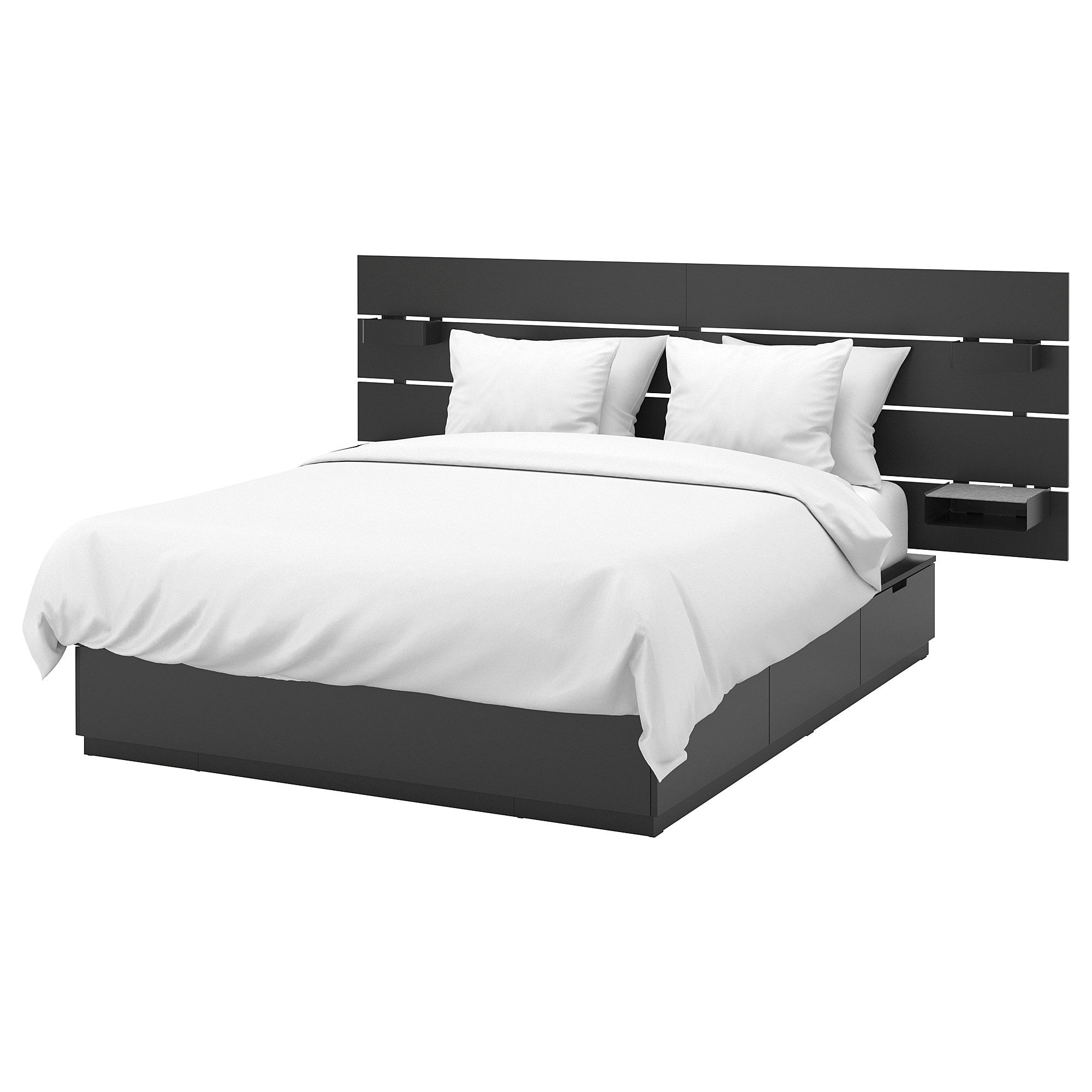 Nordli Bed With Headboard And Storage Anthracite Queen Ikea Headboards For Beds Bed Frame With Storage Ikea Nordli
