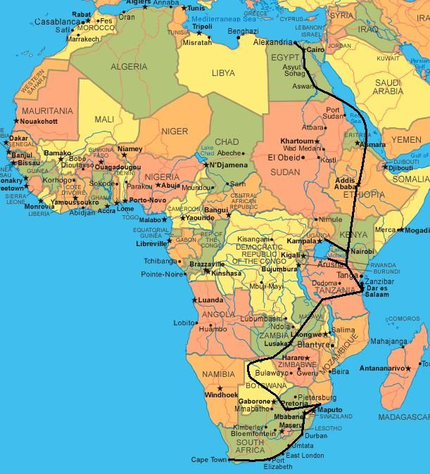 Africa Itinerary Map My Bucket List Pinterest Africa Africa