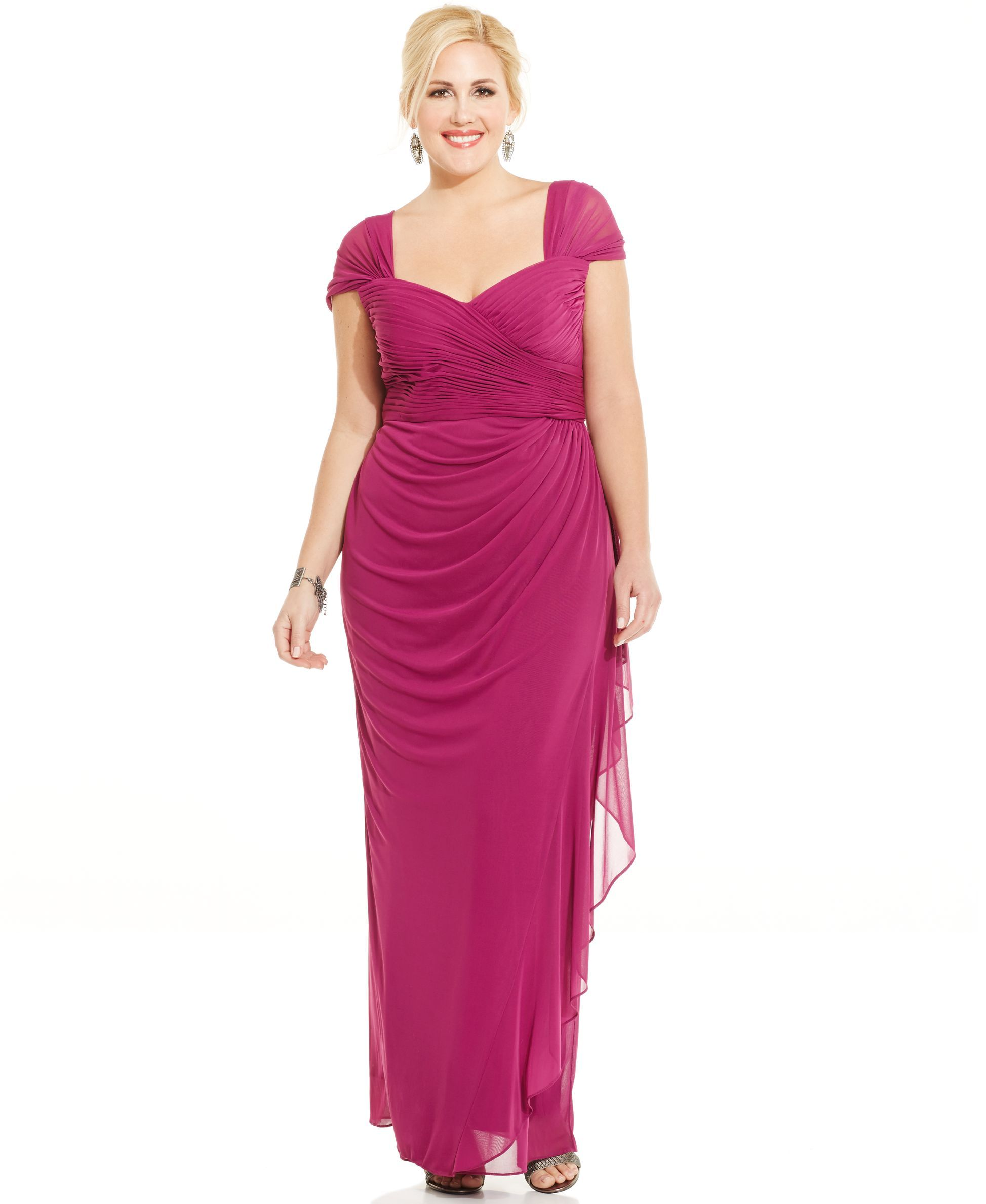 Alex Evenings Plus Size Ruched Cascade Ruffle Gown | Products ...