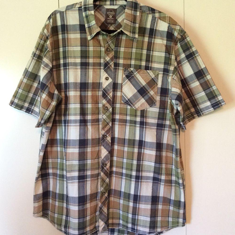 RedHead, Bass Pro Shop, Men's Short Sleeve Button Down Shirt Size XL Plaid #RedHead #ButtonFront