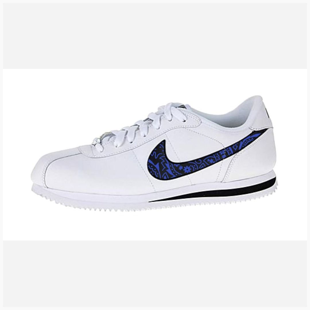 superior quality 8ffe4 878d8 Bandana Fever Royal Blue Bandana Print Custom White Black Nike Cortez Shoes  in 2019   mч ѕhσєѕ   Nike cortez shoes, Black nikes, Cortez shoes