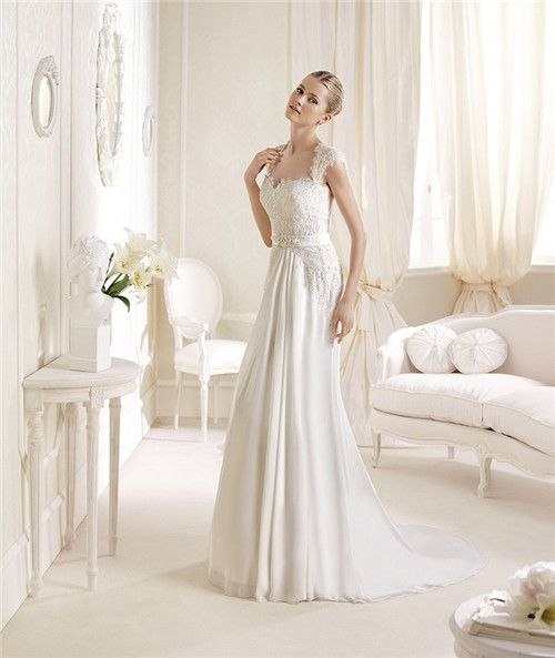 Sweetheart Wedding Dress With Cap Sleeves: Princess A Line Sweetheart Neckline Cap Sleeve Lace