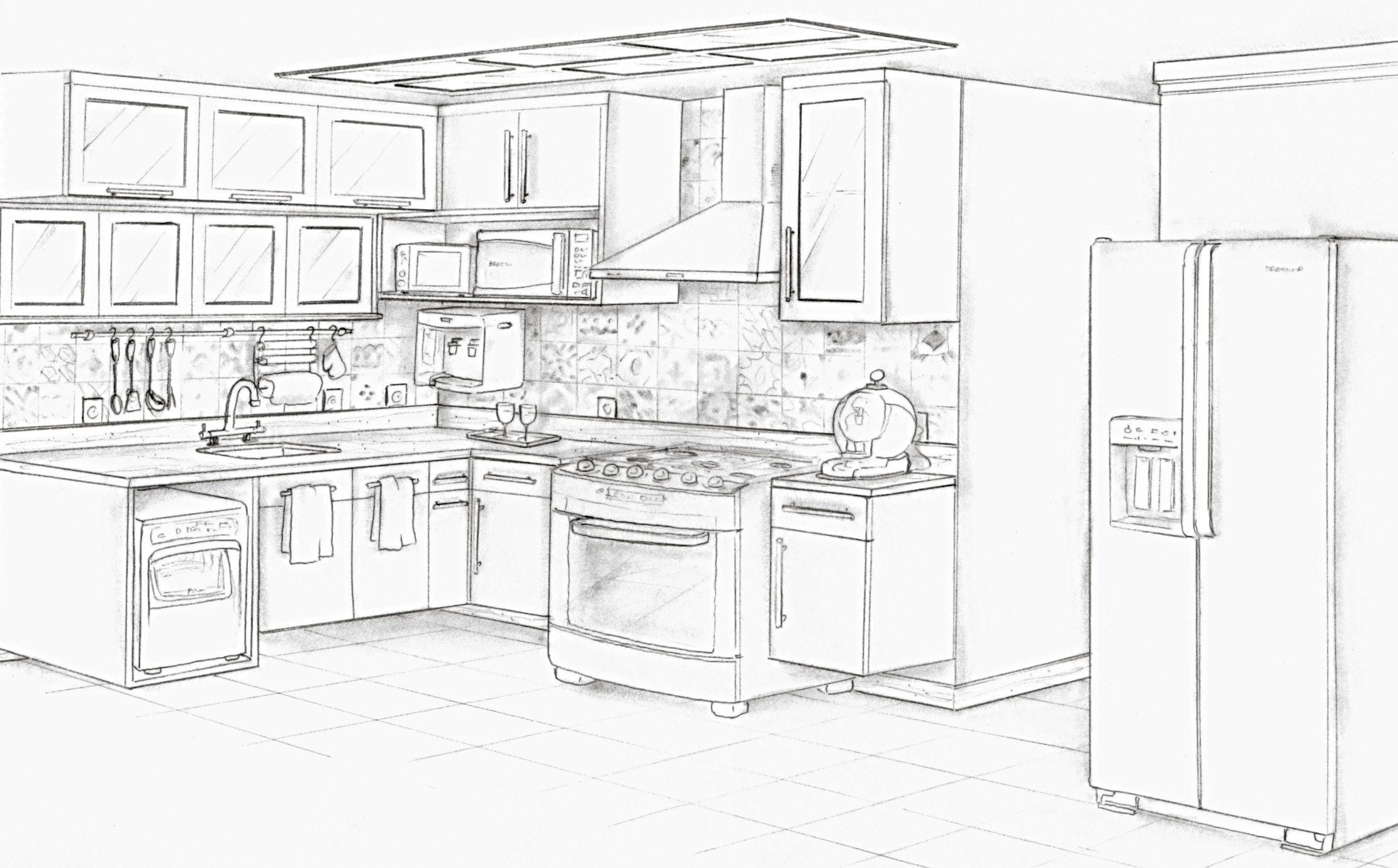 Cozinha Perspectiva Projeto Ana Lucia Nunes Esbocos De Design