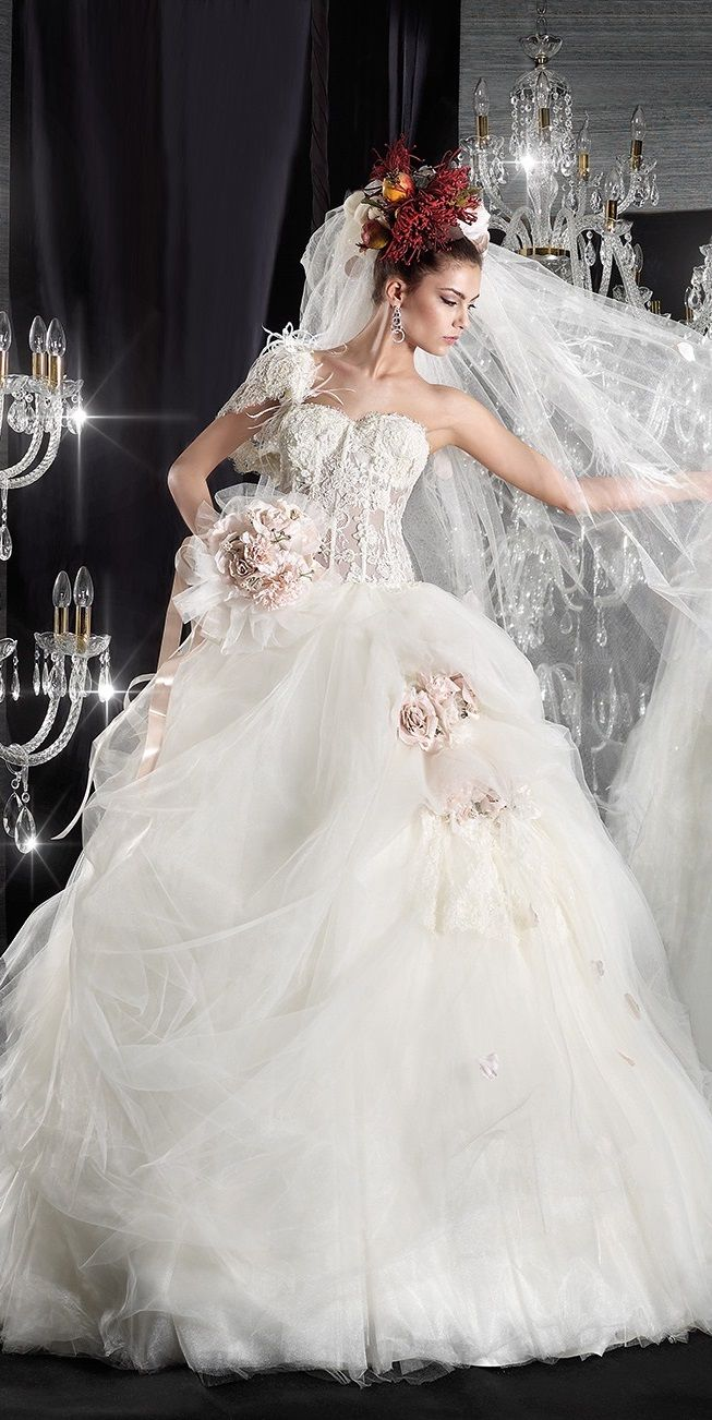 princess wedding dress with pink flower accents, by Jean le Roi ...