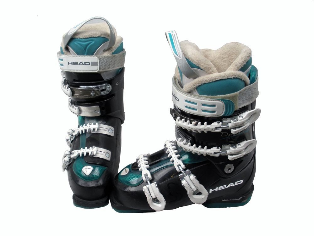 Head Dream 80 Womens Ski Boots Mondo 25 Womens 8 Black Teal Used Ski Women Ski Boots Boots