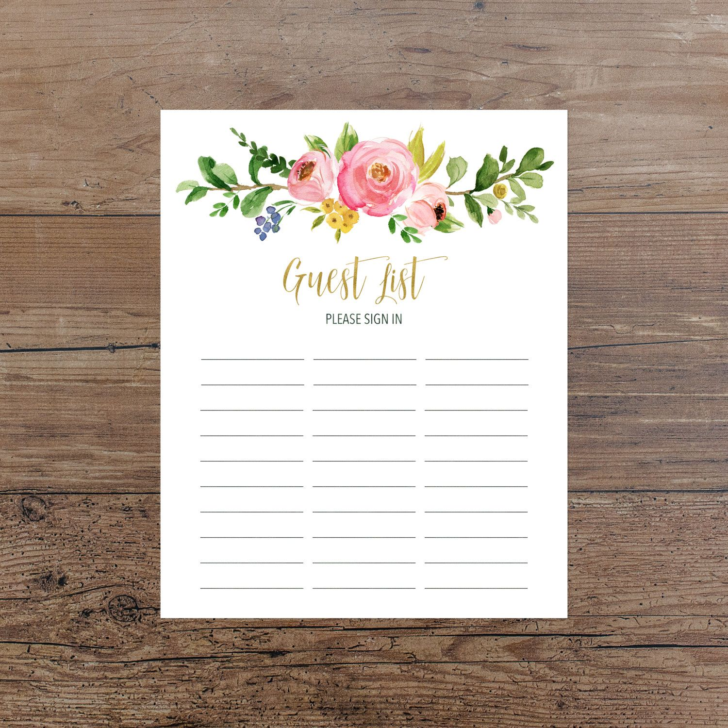 Floral Guest List Printable Guest List Sign In Sheet Pink