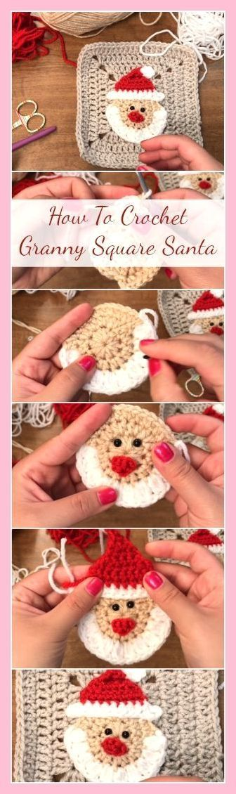 Granny Square Santa hooks - simple, easy and fast tutorial, #simple #gema ... :  Granny Square Santa hooks – simple, easy and quick tutorial,  #simple #easy #granny #hooks #santa   #Easy #fast #gema #Granny #hooks #Santa #Simple #Square #tutorial #Strickprojekte Weihnachten #grannysquareponcho