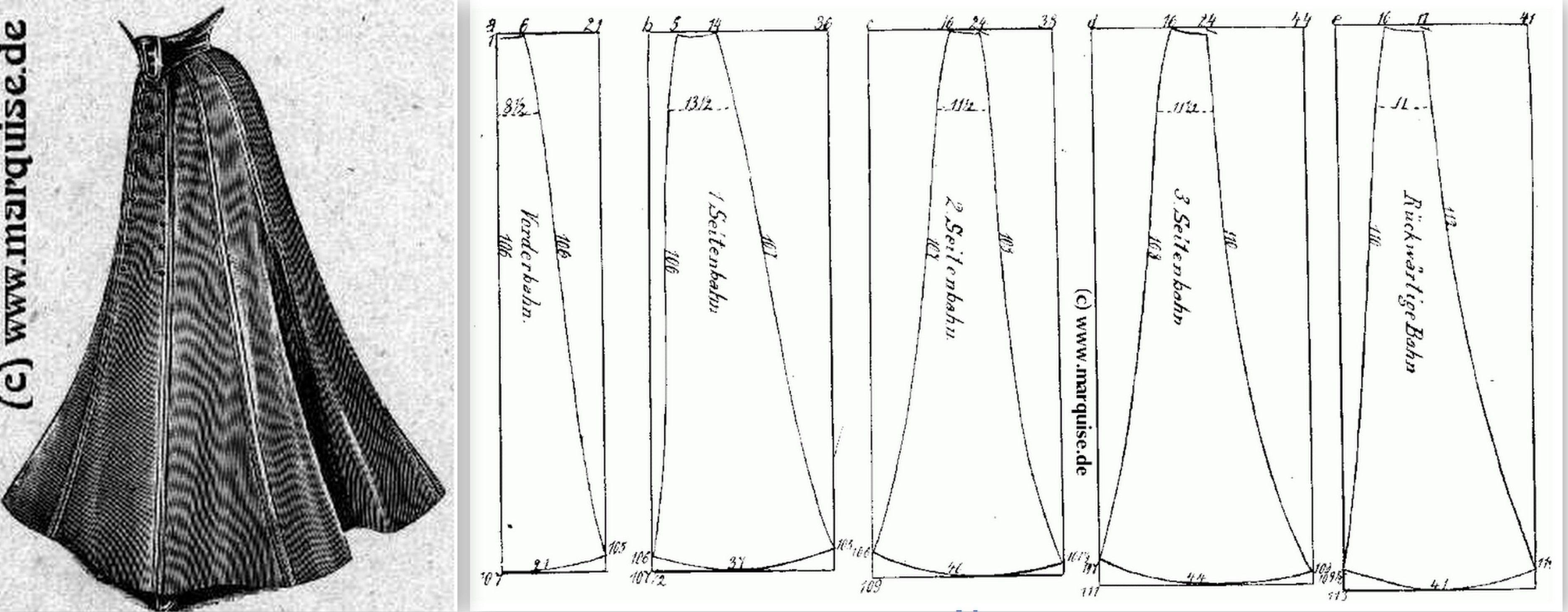 1908 9-part skirt | costurar | Pinterest | Traje femenino, Patrones ...