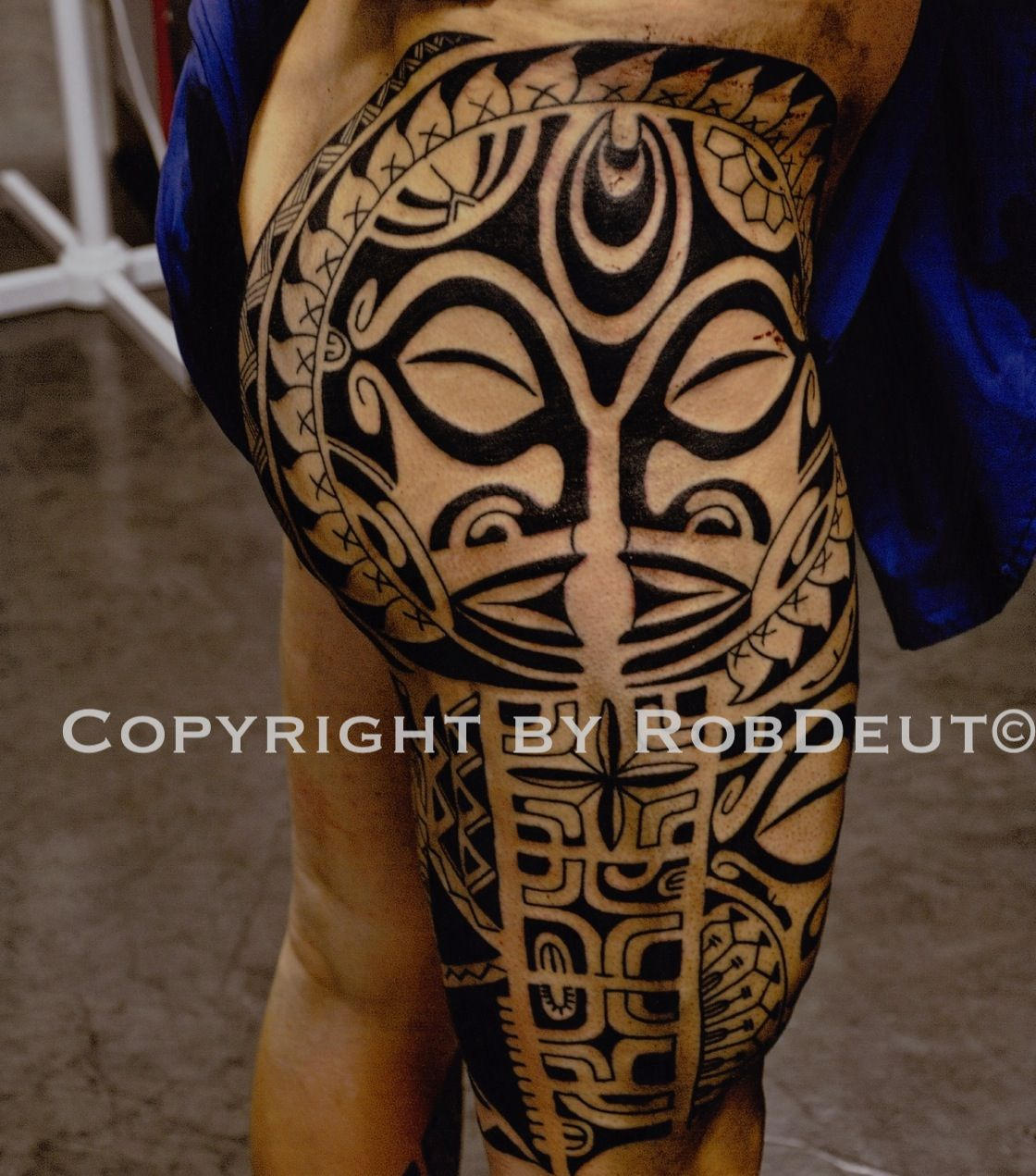 Polynesian inspired leg tattoo polynesian leg for Polynesian thigh tattoo