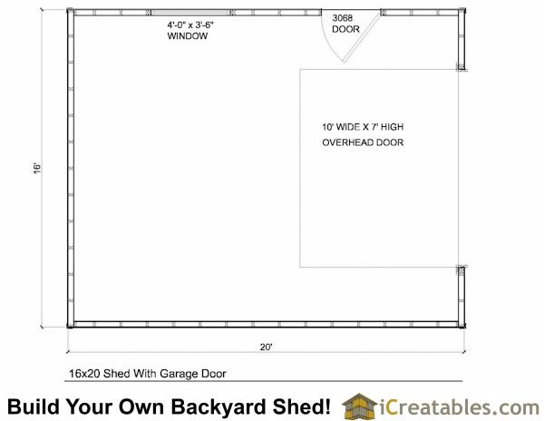 16x20 Garage Shed Plans Build A Shed With A Garage Door Shed Plans Shed Garage Doors