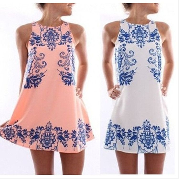 Paisley Print Dress - Pink/White - S / White