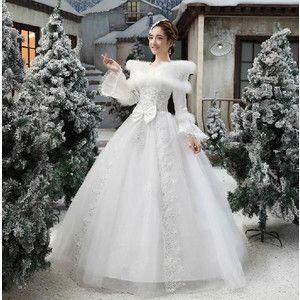 秋冬のウエディングドレス 花嫁ドレス 豪華な パーティードレス 披露宴二次会 プリンセスライン Wedding Dress