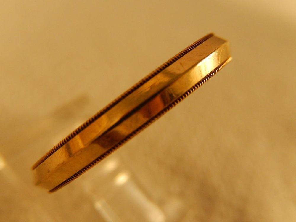 14K Gold RING Ornate Beaded Edge Band High Profile sz 11 Vintage3.2 gr Wedding #Band