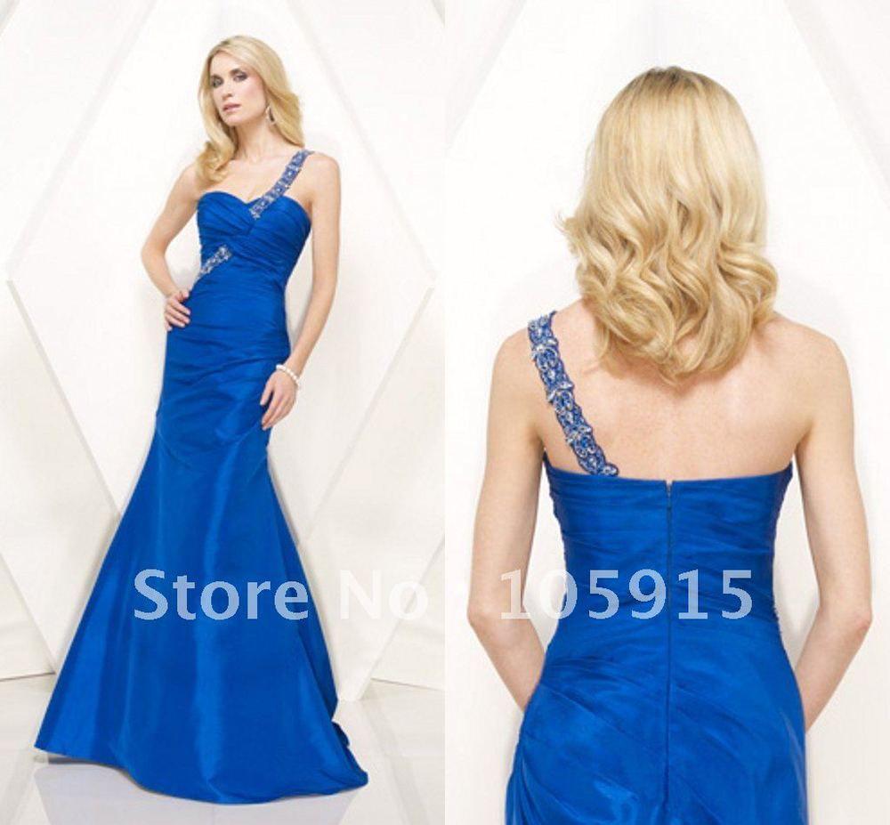 (MO-119)New Fashion One-shoulder Royal Blue Mermaid Taffeta Beaded Prom Dresses $127.00