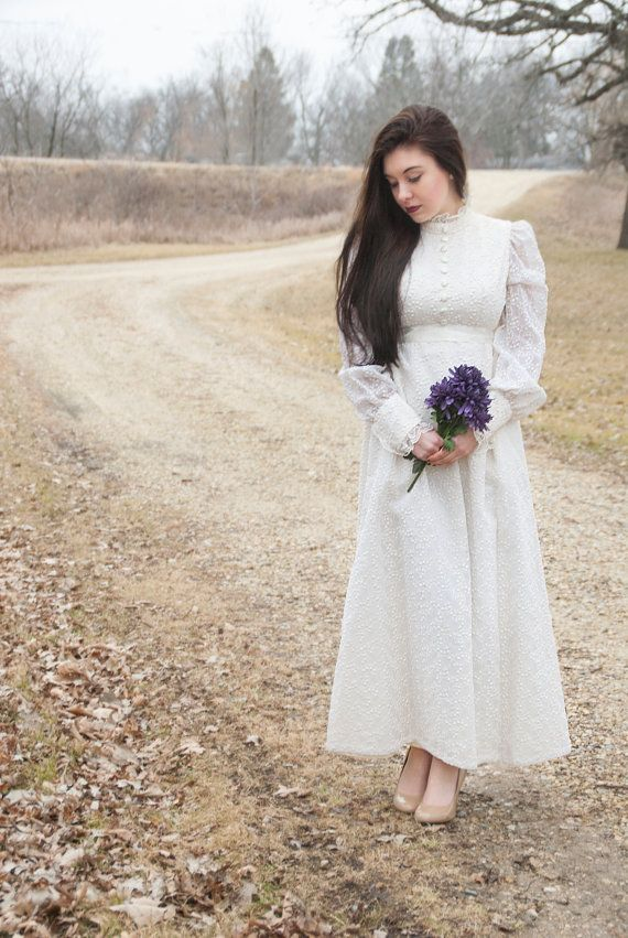 Long Sleeve Embroidered Victorian Inspired Wedding Gown 1960s A