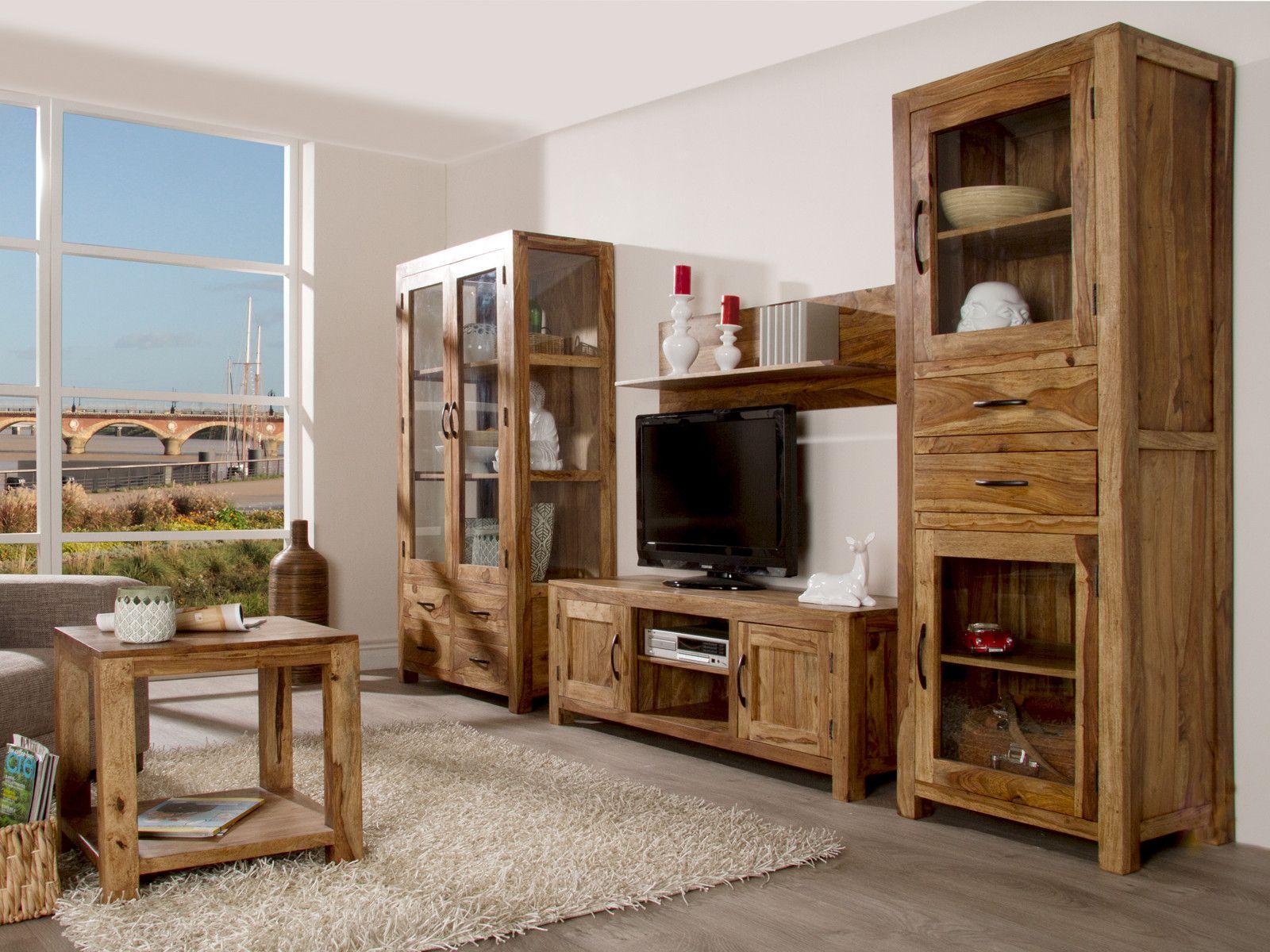 Wohnzimmermöbel Massivholz | Wohnwand Holz Dunkel Schön Möbel ...
