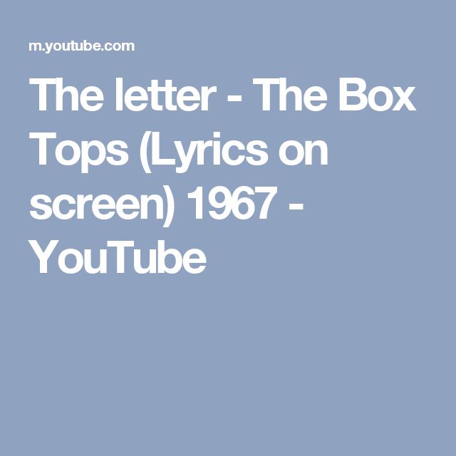 The letter The Box Tops Lyrics on screen 1967