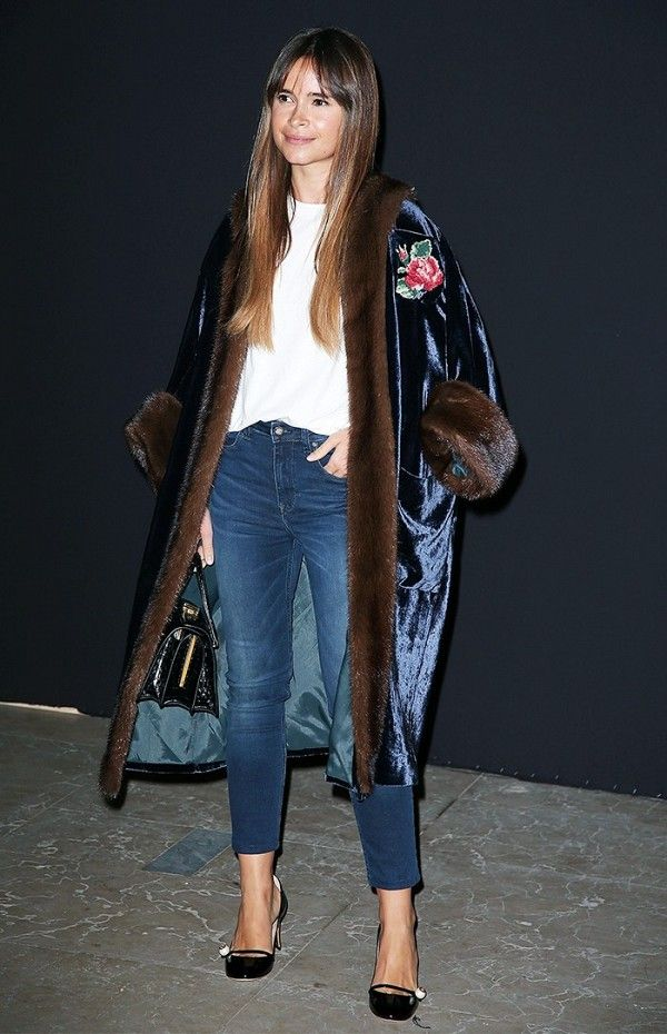 Materials like velvet and patent leather add contrast and balance to laid-back skinny jeans and a white tee.