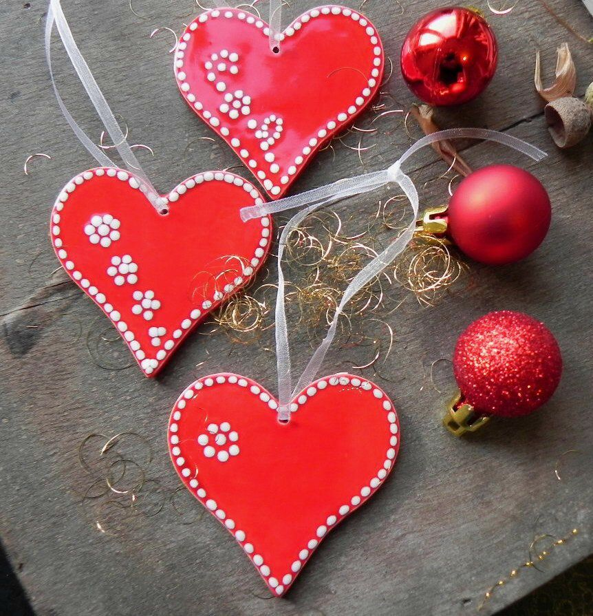 Christmas Gift Red Heart Home Decoration Ceramic Heart Gift For Her Red X Mas Ornaments 3 Country Christmas Ornaments Heart House Decor Country Christmas Ornaments Heart Decorations How To Make Ornaments