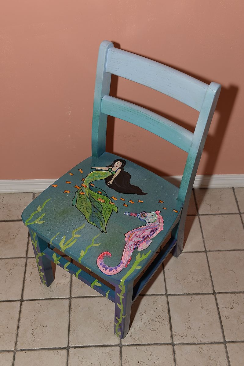 Custom Childu0027s Chair_Mermaid Under The Sea