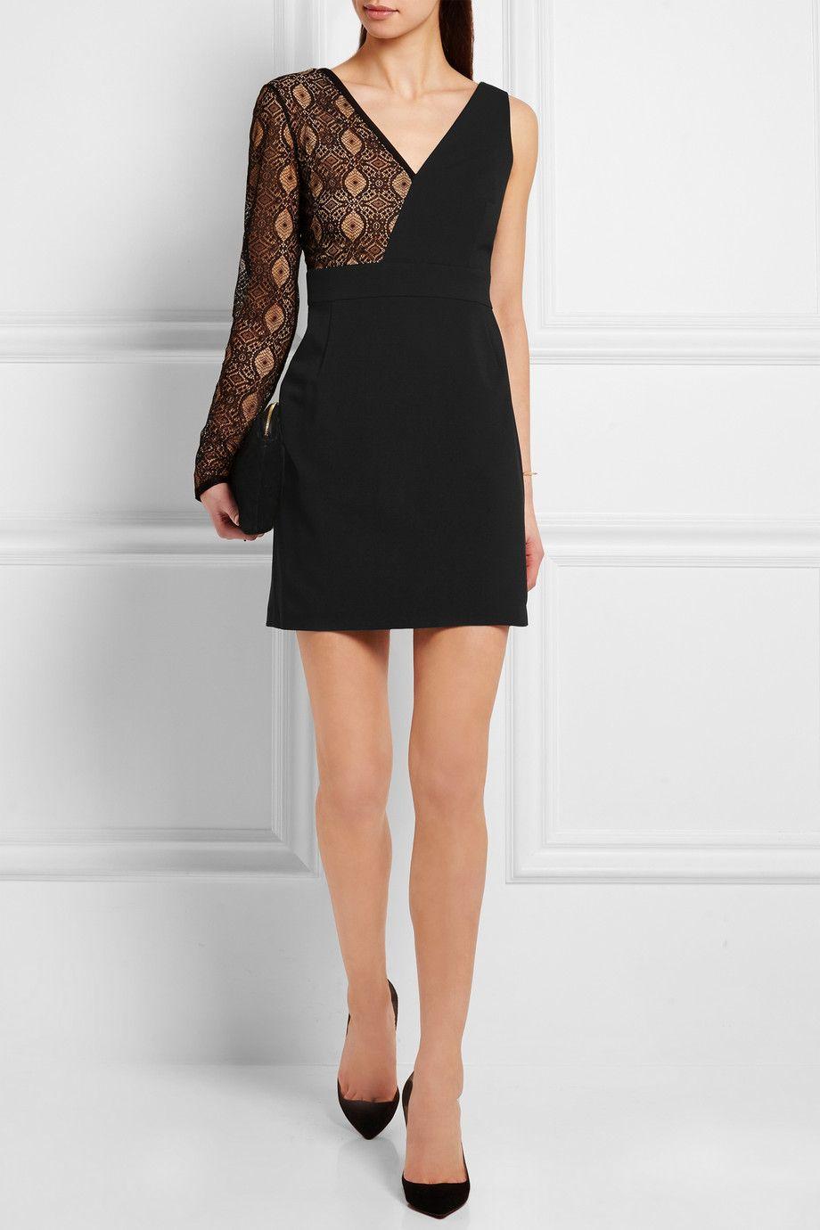 Versus | Lace-paneled stretch-cady mini dress | NET-A-PORTER.COM