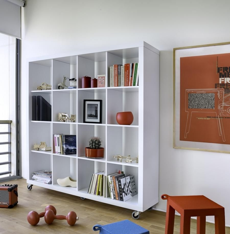 Excellent Mobile Wheeled Shelving Unit Idea In White Finish With Sixteen Cubes Shelves In Four Le Room Divider Bookcase Room Divider Shelves Room Divider Walls