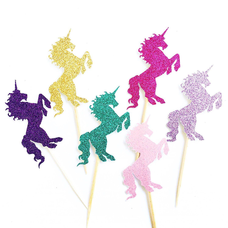 Unicorn Cupcake Toppers 12 Glitter Unicorn Cupcake Toppers
