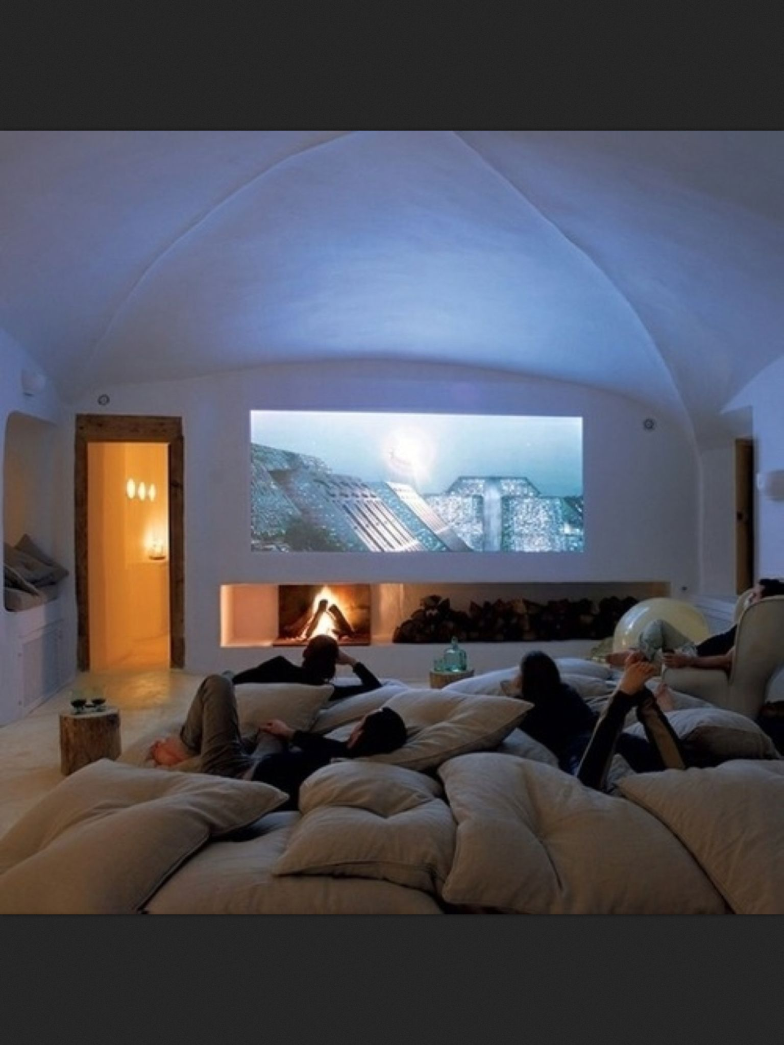 Floor Pillow To Watch Tv : Play Room/ Theater Room.... keep lots of oversized pillows stored and use a projector instead of ...