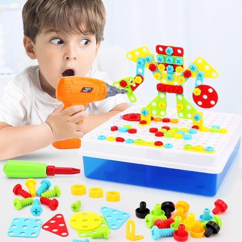 3D Mosaic Electric Drill Puzzle Toy Set Kids Building Model Blocks Assembly Tool