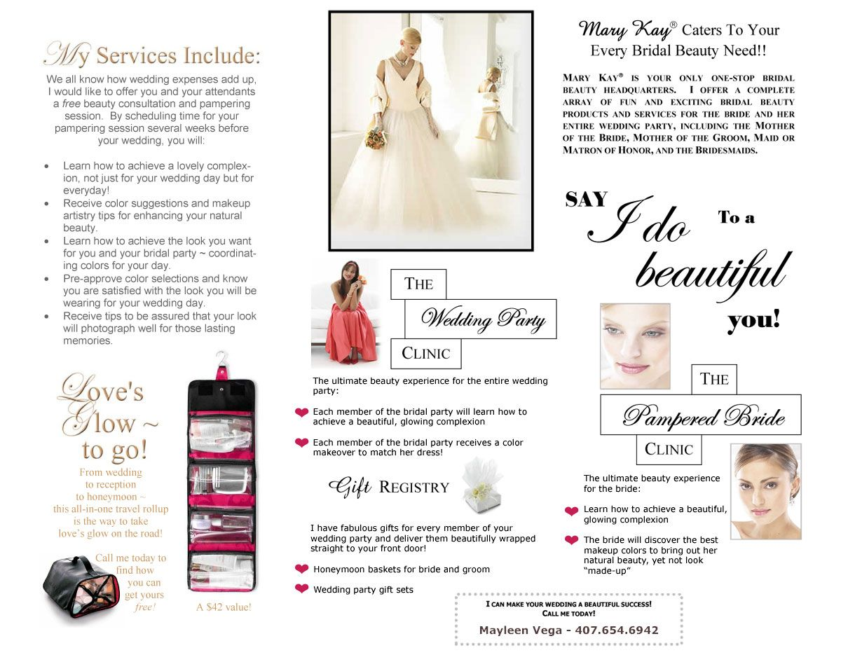 Mary kay online agreement on intouch - Mary Kay Bridal Flyers Your Wedding Beautiful Pampering The Bride And Bridal Party In The