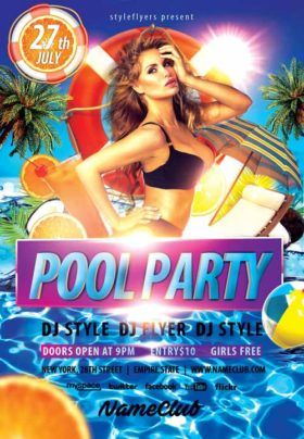 Summer Pool Party Free Flyer Template  Mockup    Free
