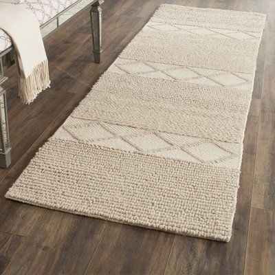 Beachcrest Home Williston Highlands Geometric Handmade Tufted Beige Area Rug Area Rugs Beige Area Rugs Wool Area Rugs