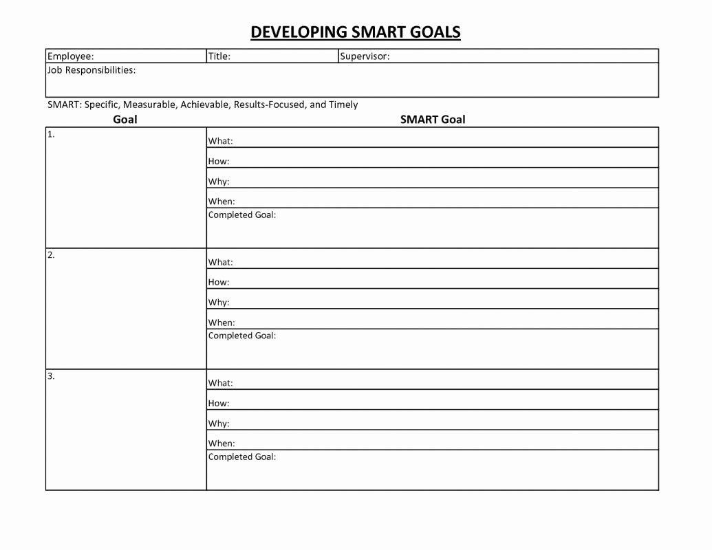 Employee Goal Setting Template New Employee Goal Setting