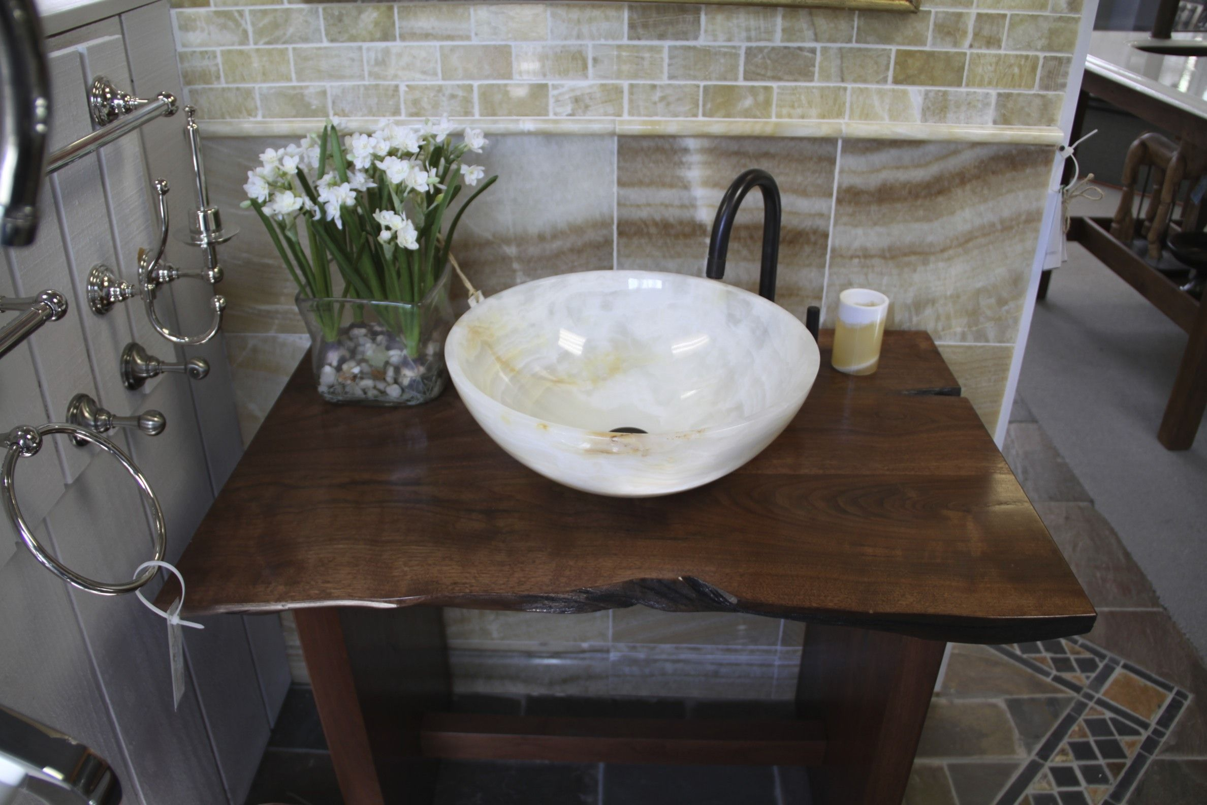 Great single white marble sink and bronze arc faucet brown gloss natural wood powder room vanity with storage gray glass tile backsplash design also