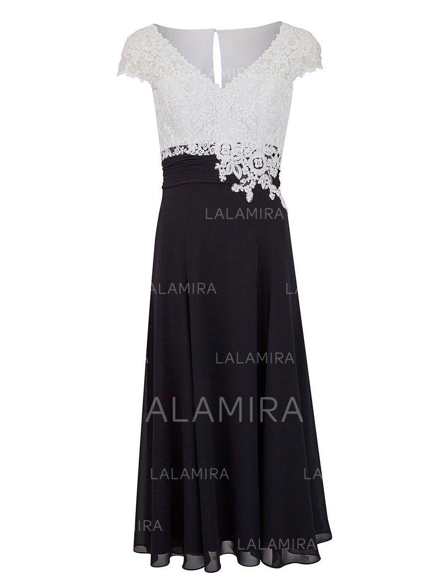 [US$ 138.69] A-Line/Princess V-neck Tea-Length Chiffon Lace Mother of the  Bride Dresses - lalamira