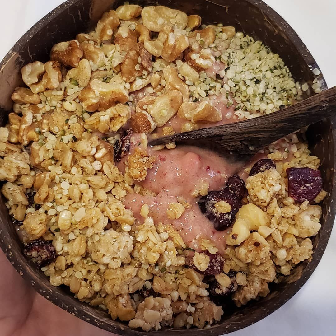Brunch. Strawberry banana smoothie bowl topped with GF granola walnuts and hemp seeds.  #alkaline #alkalinediet #plantbased #glutenfree #veganlife #foodismedicine #veganeats #healthy #grateful #awakening #foodie  #healthylifestyle #celiacdisease #mineral #alkalize #nutrition #detoxify #cleanseyourbody  #cleanse #healthy #herbalist #healthyvegan #naturalhealing #wellness #veganfood #holistichealth #foodie #healthyfood #healthyfoodrecipes #healthystrawberrybananasmoothie Brunch. Strawberry banan #strawberrybananasmoothie