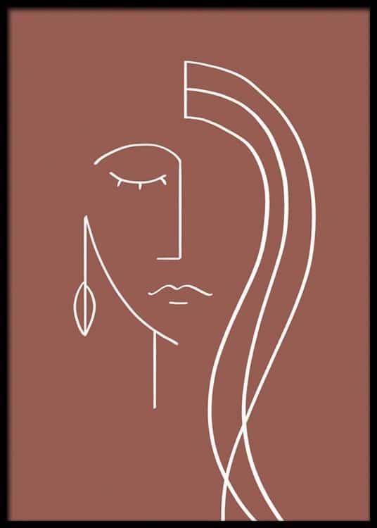 - Abstrakte Illustration mit einem Gesicht, das in weißen Linien auf einem dunkelroten Hintergrund gemalt ist Einrichtungsideen und Inspiration | Kunst & Wohnideen - Desenio.de