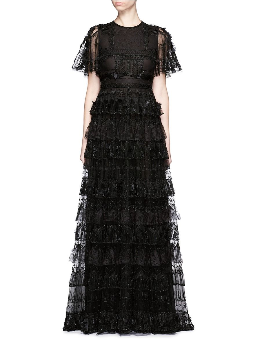 Lace Feather Bead Appliqué Tulle Gown | Valentino | Pinterest ...
