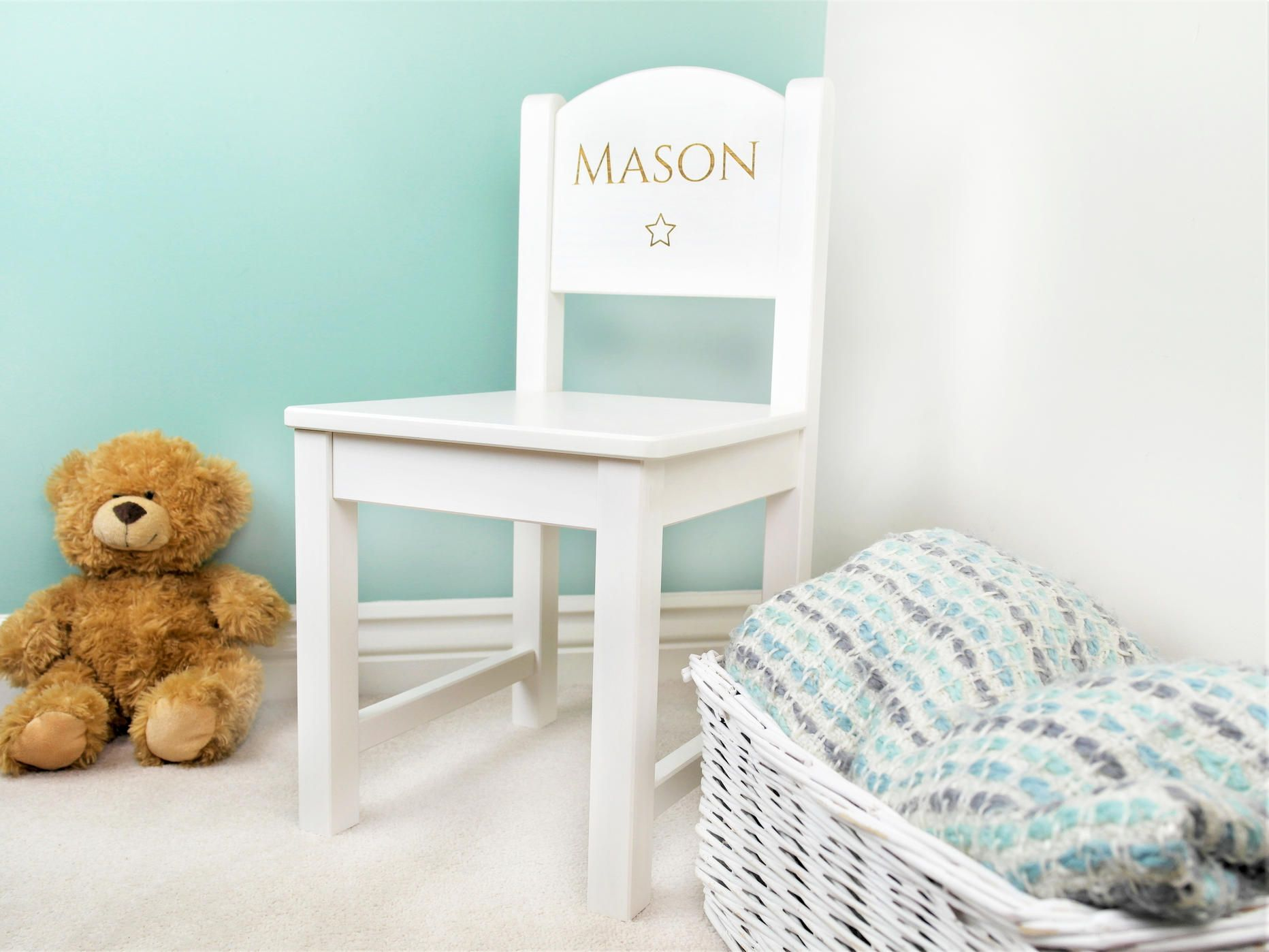 Personalised Childrens White Wooden Chair Made from traditional ...