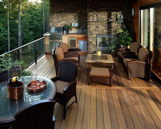 überdachte terrasse outdoor küche glas geländer natursteinwand ...