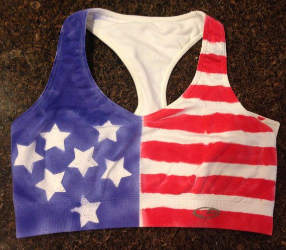 American Flag Sports Bra Woman's red white and by BackRoadShop ...