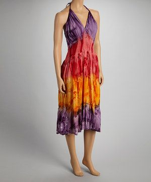 This airy dress is like an artist's painting, with each beautiful color complementing one another. A shirred bodice and slip-on silhouette are this artist's signature style.
