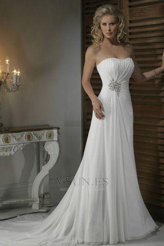 vestido de novia corte recto satén escote corazón espalda medio