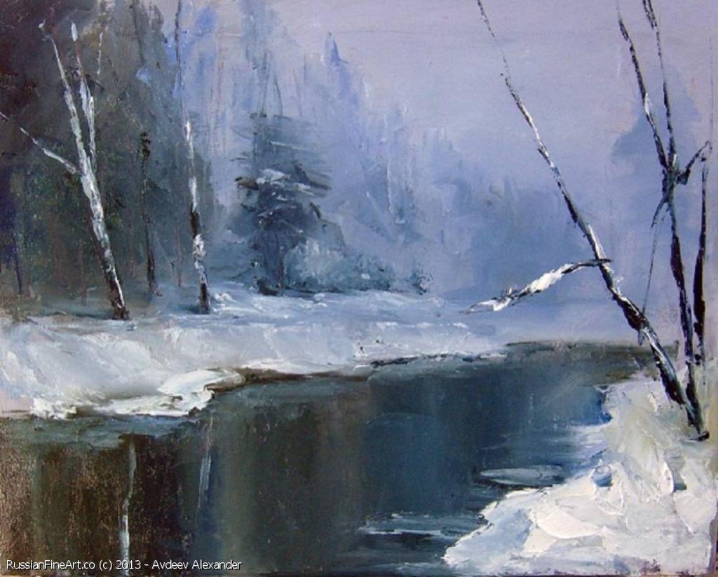 Winter River Oil Canvas Http Www Russianfineart Co Catalog Prod Php Productid 20284 Artist Avdeev Alexander Russian Landscape Landscape Paintings Art