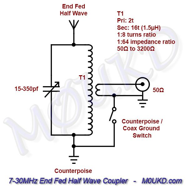 end fed half wave antenna coupler schematic – 7-30mhz