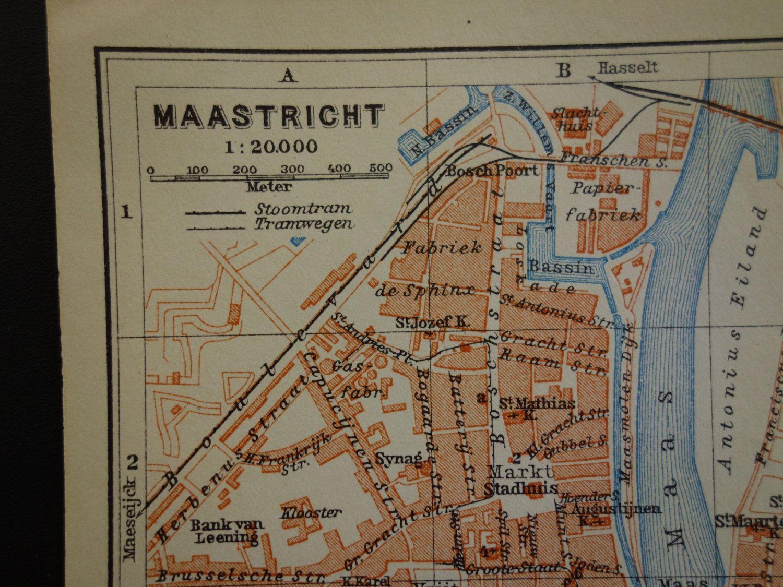 Antique map of Maastricht Holland original