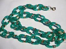 Vtg NWT Archimede SEGUSO Chanel Italy Murano Emerald Glass Rhinestone NECKLACE